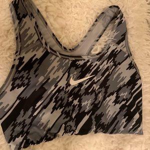 Gray Printed Nike Sports Bra